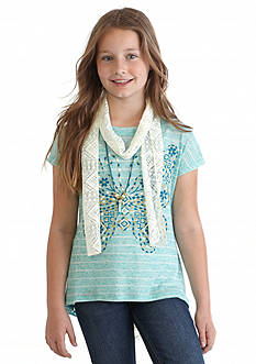 Beautees Stripe Butterfly Top and Crochet Scarf Girls 7-16