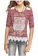 Beautees Owl Top with Crochet and Necklace Girls