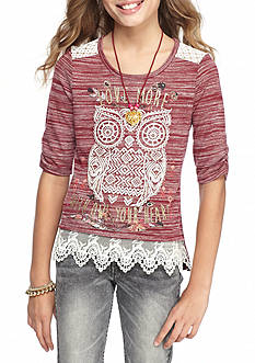 Beautees Owl Top with Crocking and Necklace Girls 7-16