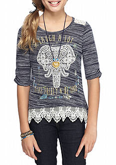 Beautees Elephant Crocked Top with Necklace Girls 7-16