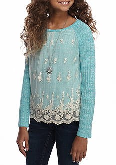 Beautees Lace Front Overlay Solid Top with Necklace Girls 7-16