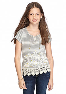Beautees Stripe Lace Up Top Girls 7-16