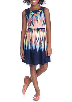 Beautees Watercolor Belted Dress Girls 7-16