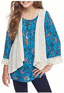 Beautees Cold Shoulder Peasant Top with Vest and