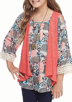 Beautees Cold Shoulder Crochet Peasant Top with Vest and Necklace Girls 7-16