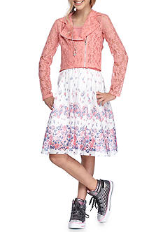 Beautees 2-Piece Set Motorcycle Jacket and Floral Dress with Necklace Girls 7-16