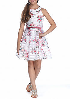Beautees Organza Floral Striped Dress Girls 7-16