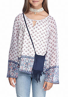 Beautees Cold Shoulder Printed Border Top with Choker and Phone Pouch Girls 7-16