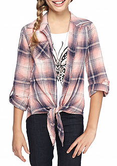 Beautees Butterfly Plaid Tie Front Top and Necklace Girls 7-16