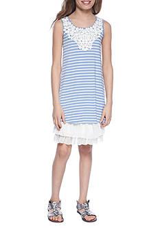 Beautees Knit Stripe Swing Dress Girls 7-16
