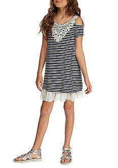 Beautees Knit Stripe Cold Shoulder Swing Dress Girls 7-16