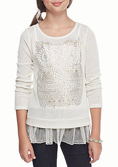 Beautees Metallic Owl Ruffle Hem Top Girls 7-16