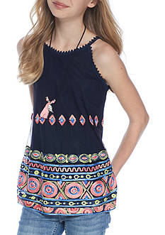Beautees Medallion Border Tank with Necklace Girls 7-16