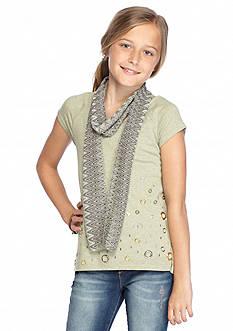 Beautees 2Fer Short Sleeve Grommet Top & Scarf Girls 7-16