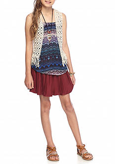 Beautees Crochet Vest, Tank, and Suede Scooter Set Girls 7-16