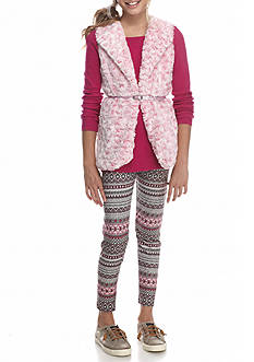 Beautees Vest with Printed Legging 2-Piece Set Girls 7-16
