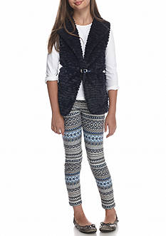 Beautees Vest and Printed Legging 2-Piece Set Girls 7-16