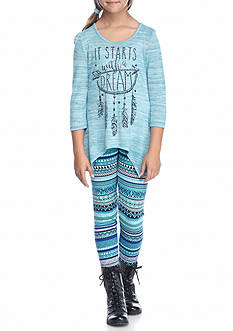 Beautees 2-Piece 'It Starts With A Dream' Shark Bite Top with Printed Leggings Girls 7-16