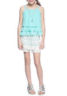 Beautees Tank and Crochet Short 2-Piece Set Girls 7-16