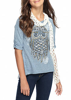 Beautees Owl Top With Crochet Scarf Girls 7-16