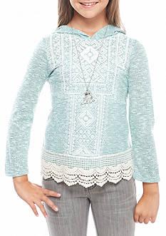 Beautees Glitter Front Crochet Trim Hoodie Top Girls 7-16