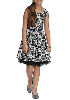 Beautees Sleeveless Belted Skater Flocked Dress Girls 7-16