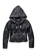 JouJou Black Faux Leather Coat with Milange Hood