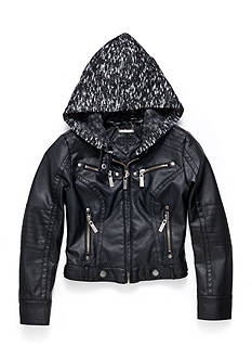 JouJou Black Faux Leather Coat with Milange Hood Girls 7- 16