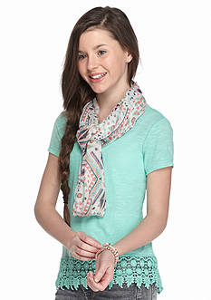 Belle du Jour 2-Piece Solid Tee and Printed Scarf Set Girls 7-16