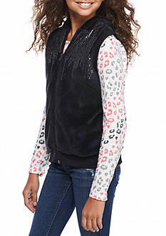 Belle du Jour Solid Woobie Leopard Sleeve Jacket Girls 7-16