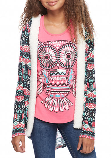 Belle du Jour Duster Sweater with Owl Tank Top Girls 7-16