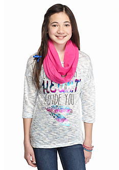 Belle du Jour 2-Piece 'Let Your Heart Guide You' Top and Scarf Girls 7-16