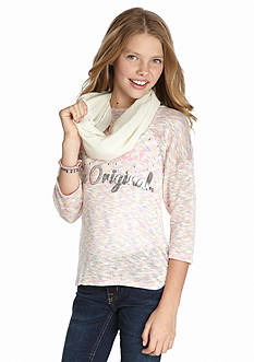 Belle du Jour 'I'm Not Perfect I'm Original' Top and Scarf Set Girls 7-16