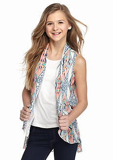 Belle du Jour 2-Piece Duster Print Sleeveless Cozy Tank Girls 7-16