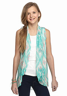 Belle du Jour 2-Piece Duster Print Sleeveless Cozy and Tank Top Girls 7-16
