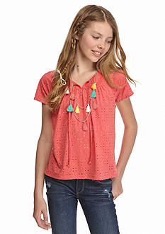 Belle du Jour Knit Eyelet Tassel Shirt Girls 7-16