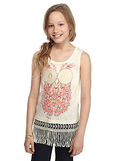Belle du Jour Owl Fringe Tank Top Girls 7-16