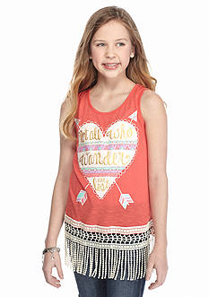 Belle du Jour 'Not All Who Wander' Heart Fringe Tank Top Girls 7-16