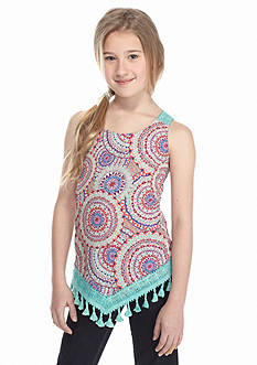Belle du Jour Printed Fringe Crochet Tank Top Girls 7-16