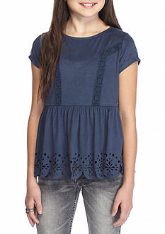Belle du Jour Short Sleeve Suede Scallop Top Girls 7-16