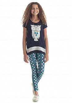 Belle du Jour 2-Piece Owl Tunic and Printed Legging Set Girls 7-16