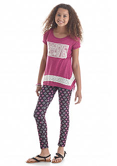 Belle du Jour 2-Piece Love Tunic and Printed Legging Set Girls 7-16