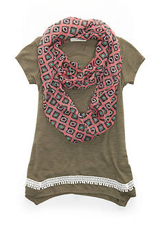 Belle du Jour Green Solid Top with Scarf Girls 7-16