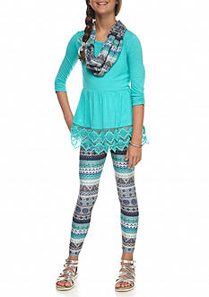 Belle du Jour 2-Piece Lace Accent Top and Printed Legging Set Girls 7-16