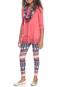 Belle du Jour 3-Piece Babydoll Tunic, Scarf and Printed Legging Set Girls 7-16