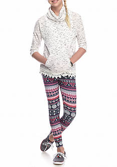 Belle du Jour Cowl Neck Top and Printed Legging 2-Piece Set Girls 7-16