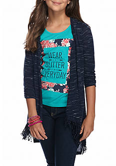 Self Esteem Fringe Cozy Sweater and Graphic Tank Top 2-Piece Set Girls 7-16