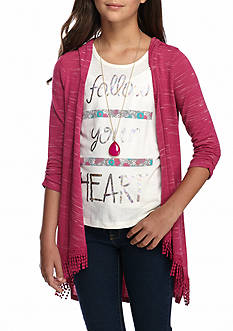 Self Esteem Fringe Cozy Cardigan and Tank Top with Necklace Girls 7-16