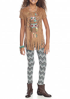 Belle du Jour 2-Piece Owl Suede Fringe Top and Legging Set Girls 7-16
