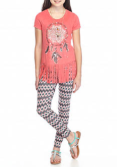 Belle du Jour 2-Piece Suede Dreamcatcher Top and Printed Leggings Set Girls 7-16